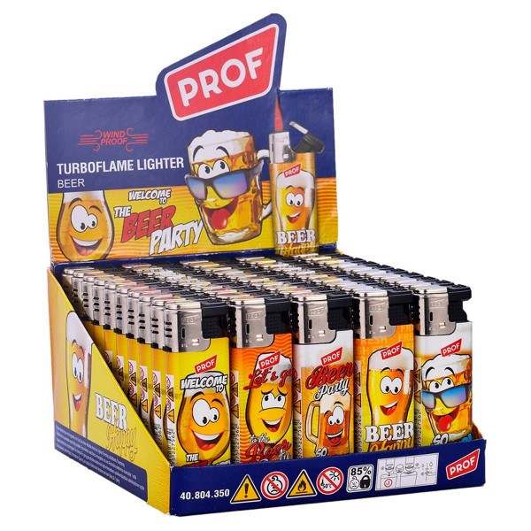 Prof   Lighters with Beer logo's 50 pcs in a display