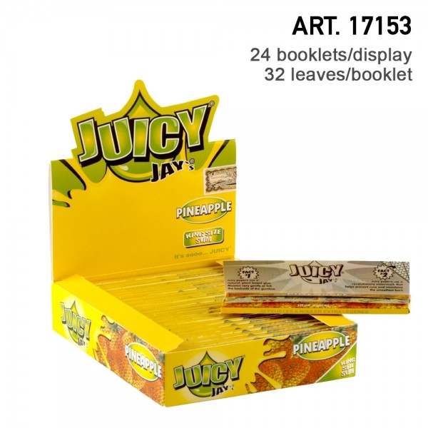Juicy Jay's | Pineapple flavored King Size Slim rolling papers - 24pcs in a display