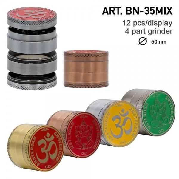 Grace Glass Amsterdam   Rainbow Mix Grinder with Ganash and OM logo 4part- Ø:50mm- 12pcs/box