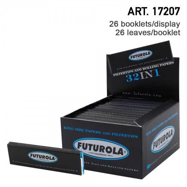Futurola | KS Rolling Papers 32 leaves per booklet and 26 booklets + tips in a display/box