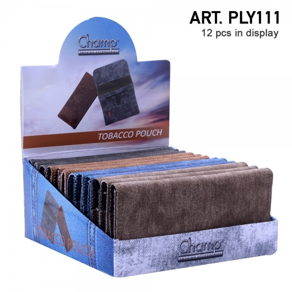 Champ   Tobacco Pouch (162x80mm) in differen colors there are 12pcs in a display