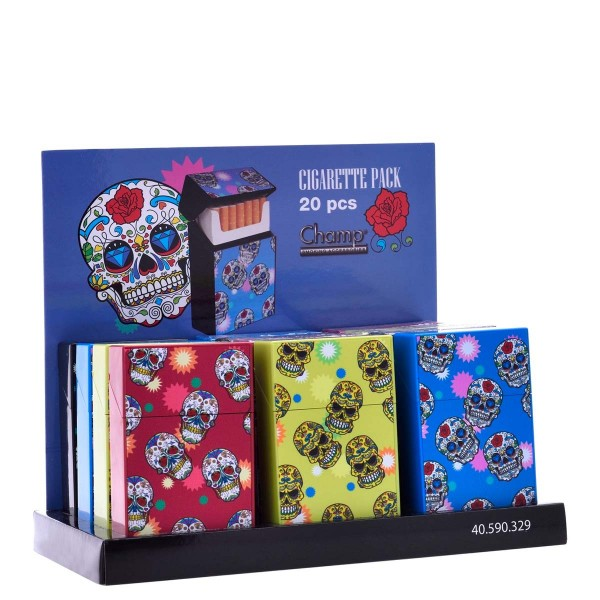 Champ | Mini Skull cigarette cases for 20pcs cigarettes in different colors and there are 12pcs in a