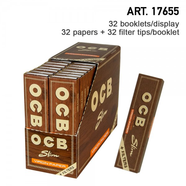 OCB | Unbleached slim virgin papers (109 x 44 mm) with Filter Tips, 32 box / 32 Papers + 32 Filter T