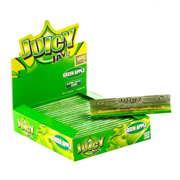 Juicy Jay's | Green Apple flavored King Size Slim rolling papers - 24pcs in a display