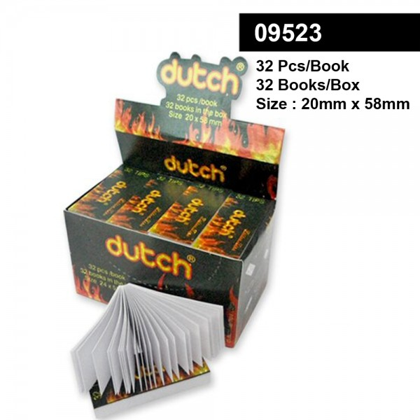 Dutch   Filter Tips - Small Size 20 x 58mm - Display with 32 Books with each 32 Sheets