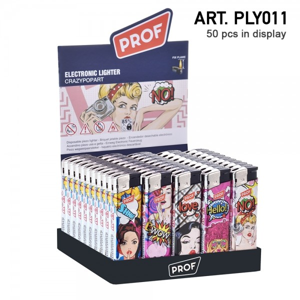 Prof | Pop Art design Lighters with arts 50 pcs in a display