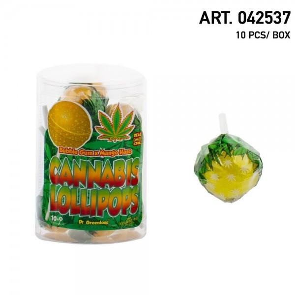 Cannabis | Lollipops Mango Haze with Bubble Gum 10 pcs in a box