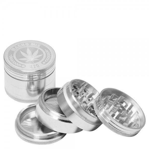 Magno Mix | 420 Leaf Grinder- 4part - Ø:50mm- Silver - minimum order 12 pcs
