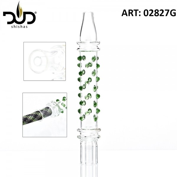 DUD Shisha | Hookah Mouthpiece with green glass beads- Ø:30mm- L: 21cm