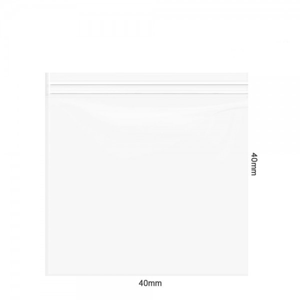 Amsterdam   Zipper Bags 40mm x 40mm 60µ (MU) Clear with 3 x writable labels and 1000pcs in a display
