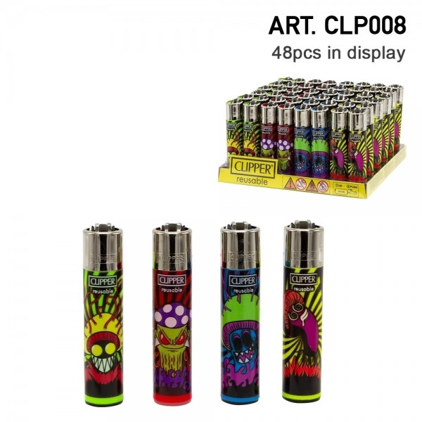 Clipper   Psycho Mush refillable lighters with 4 different designs - 48pcs in display