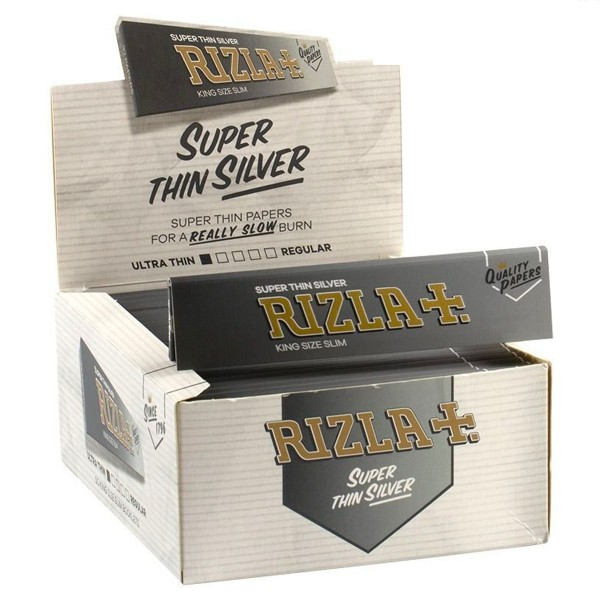 Rizla | Silver King Size Slim Rolling Papers 32 leaves per booklet - 50 booklets per display