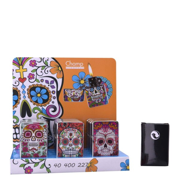 Champ | Zippo with mixed Skull logo's there are 12 pcs in a display