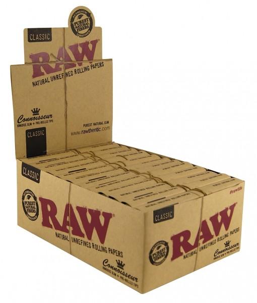 RAW CONNOISSEUR - KS SLIM + PREROLLED TIPS BOX/24