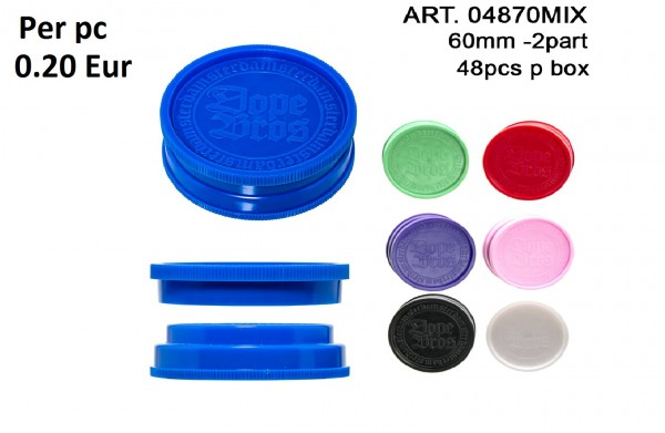 Dope Bros | Grinder - 2part- Ø:60mm-48pcs/box-mix of colors