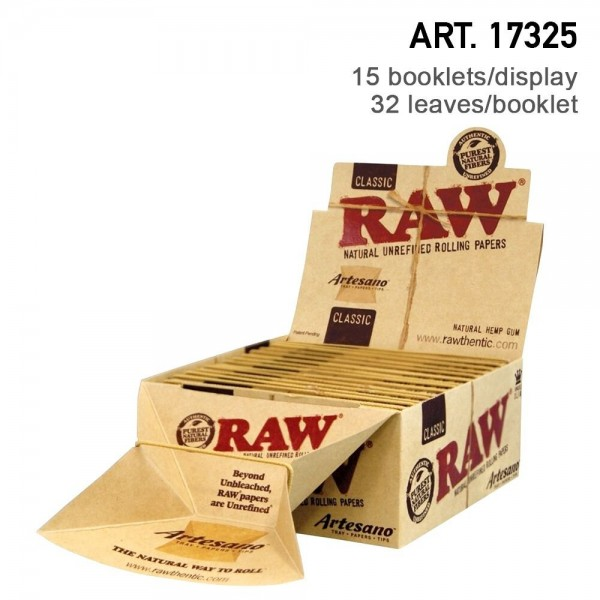 RAW   Artesano King Size Slim with Tips Box and Tray 32 leaves per booklet - 15 Booklets With Tips a