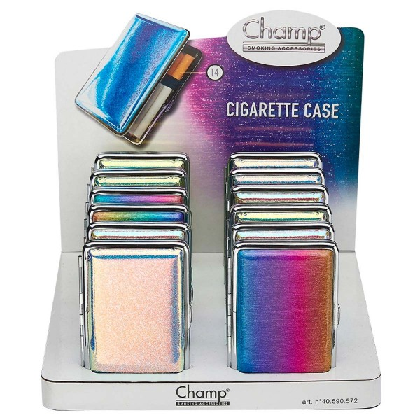 Champ | Mirror cigarette cases for 14pcs cigarettes in different colors and there are 12pcs in a dis