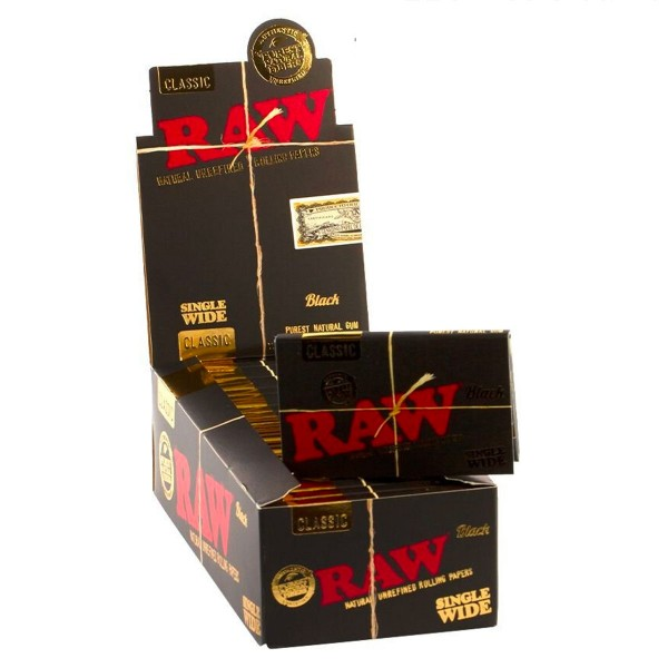 RAW   Classic Black Single Wide Double Window Rolling Papers 100 papers per booklet - 25 booklets pe
