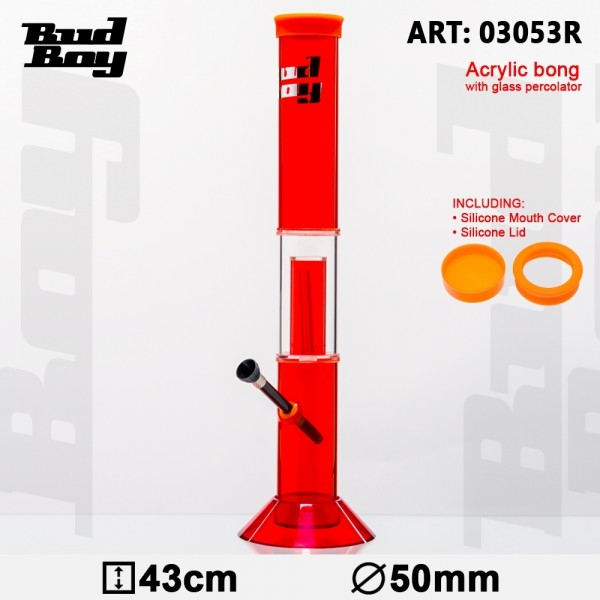 Bud Boy | Cane Bong - Red- H:43cm- Ø:50mm- WT:3mm (circa)- Glass Percolator