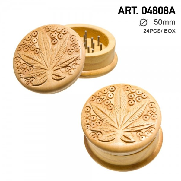 Leaf | Wooden grinder leaf logo- 2part - Ø:50mm - Earth Color-24pcs/box