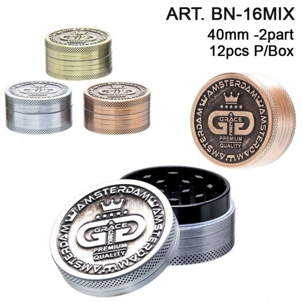 Grace Glass   Grinder - 2part- Ø:40mm- 12pcs/box-mixed colors
