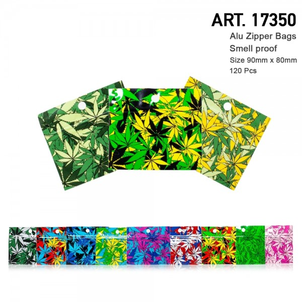 Amsterdam | 120 x Smellproof and Watertight Multilayer Alu Zipper Bags Mixed Colors wtih leaf 90x80