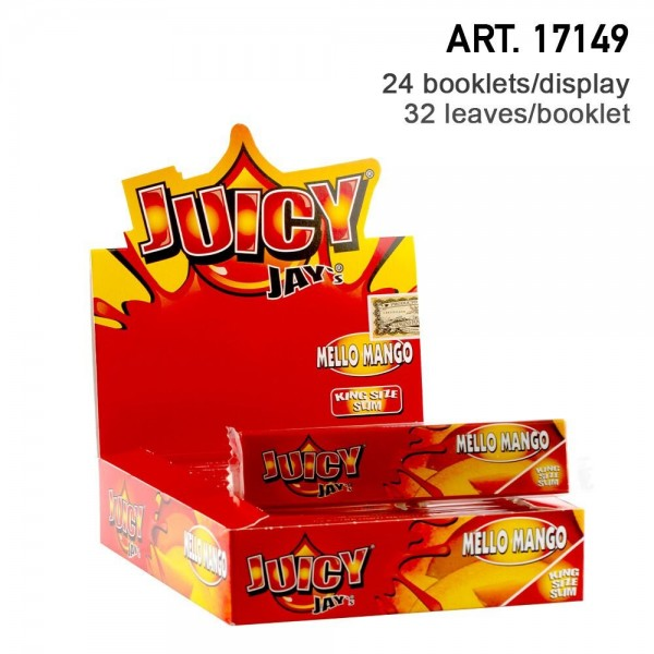 Juicy Jay's | Mango flavored King Size Slim rolling papers - 24pcs in a display
