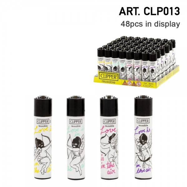 Clipper | Love In Air refillable lighters with mixed designs - 48pcs in display