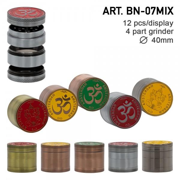 Grace Glass Amsterdam | Mix Grinder with Ganash and OM logo 4part- Ø:40mm- 12pcs/box