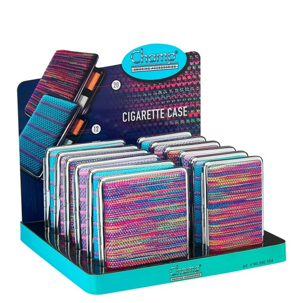 Champ | Embro cigarette cases for 20pcs cigarettes in different colors and there are 12pcs in a disp