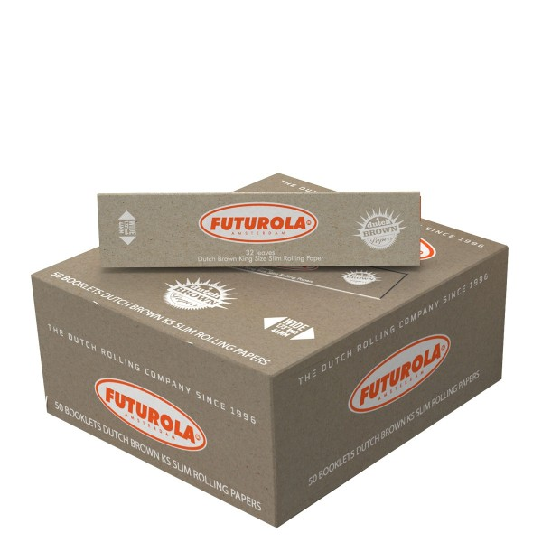 Futurola | KS Slim Brown Rolling Papers 32 leaves per booklet and 50 booklets in a dislay