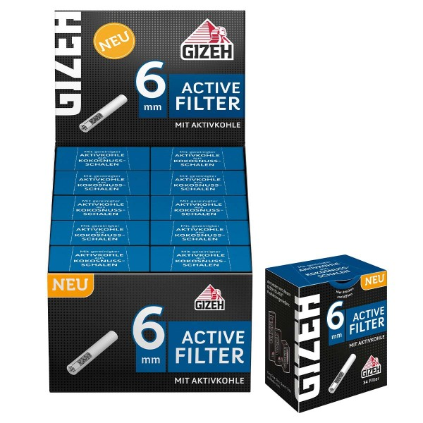 Gizeh   Active Filter with Active Carbon 34 filters per pack and 10 packs in a display - Dia: 6mm -