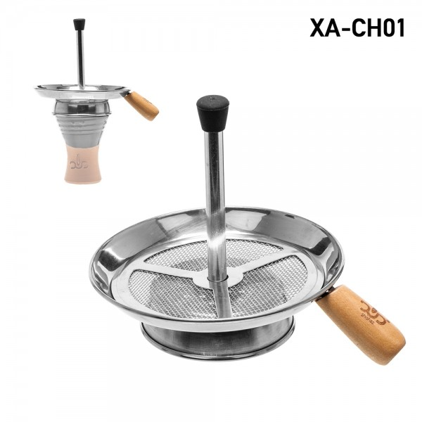 DUD Metal Charcoal Badcha With Wooden Handle For Shisha