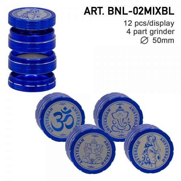 Grace Glass Amsterdam | Mix Grinder with Ganash, Shiva and OM logo 4part- Ø:50mm- 12pcs/box