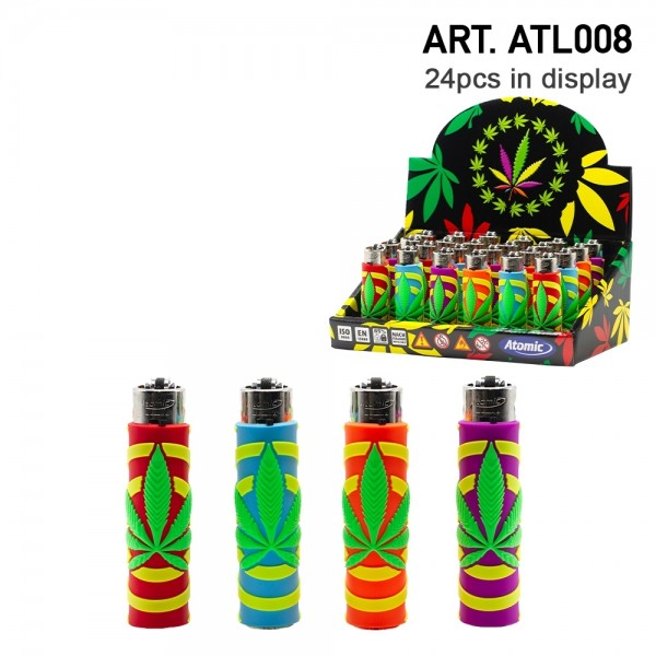 Atomic | Funda Leaf refillable lighters with mixed sleeve designs - 24pcs in display