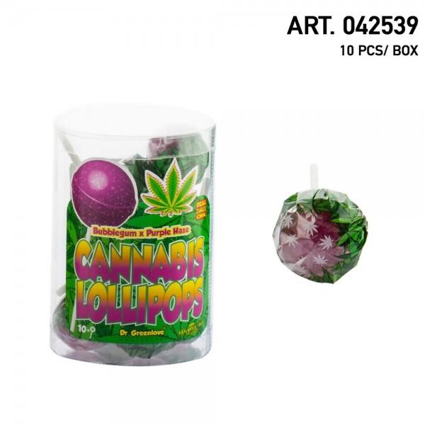 Cannabis   Lollipops Purple Haze with Bubble Gum 10 pcs in a box