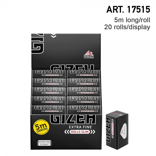 Gizeh   Extra Fine Rolls Slim 5m long continuous paper and 20 rolls in a display