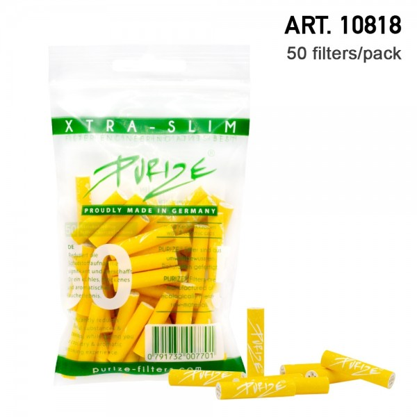 Purize | 50 Xtra Slim Size Yellow Filters per pack Ø:5,9mm x 26,9mm