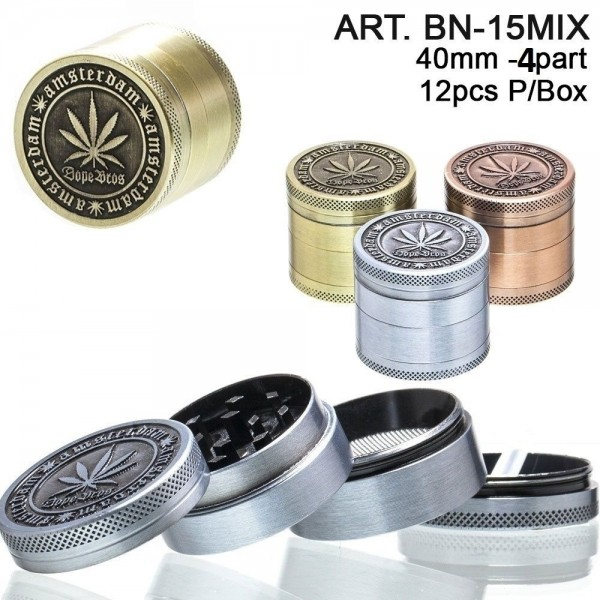 Amsterdam Grinder- 4part- Ø:40mm- 12pcs/box-mixed colors