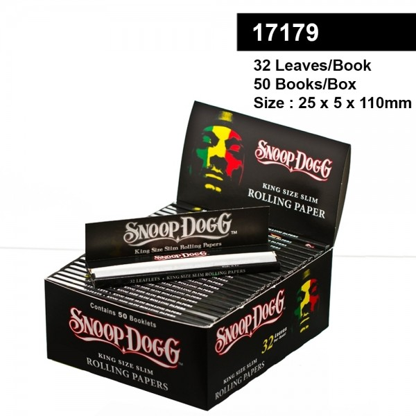 Snoop Dogg smoking King size slim rolling papers 32 leaves per book 50 books per box