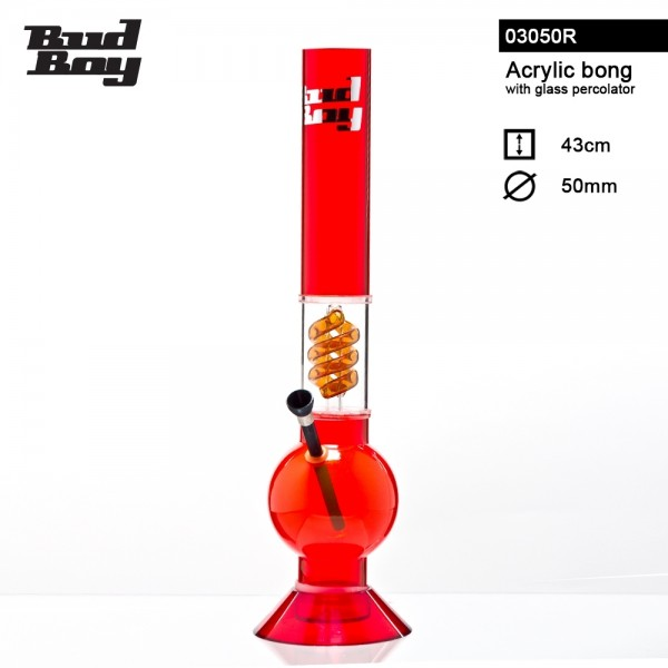 Bud Boy | Bouncer Bong- Red- H:43cm- Ø:50mm- WT:3mm (circa)- Spiral Percolator